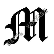 Old English M Letter Initial Vinyl Sticker Decal Font Diploma Choose Size &Color