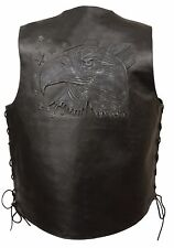MEN'S MOTORCYCLE BLACK EAGLE HEAD & STARS EMBROIDERED LEATHER VEST W/SIDE LACES