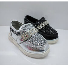 GIRLS KIDS BABY CHILDRENS INFANTS GLITTER DIAMANTE TRAINERS SILVER SHOES SIZE