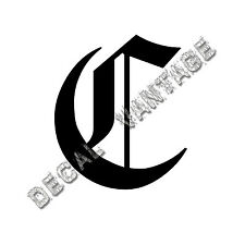 Old English C Letter Initial Vinyl Sticker Decal Font Diploma Choose Size &Color