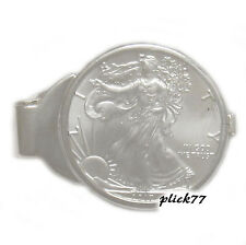 1 oz American Silver Eagle Sterling Silver Spring Back Money Clip With Coin
