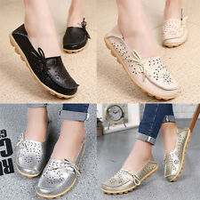Womens Casual Comfy Leather Shoes Walking Flats Flat Slip Moccasin Loafers