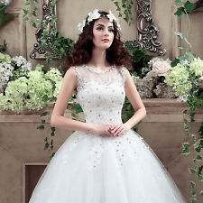 2017 White/Ivory Organza Wedding Dress Bridal Gown Stock Size 6-8-10-12-14-16