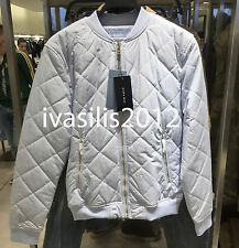 ZARA MAN STRIPED QUILTED BOMBER JACKET LIGHT BLUE S,M,L REF. 4317/466