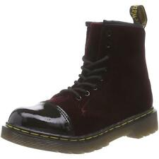 Dr Martens Pooch Junior Cherry Red Velvet Patent Ankle Boots