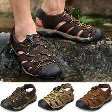 Mens Leather Closed Toe Walking Outing Water Casual Summer Sandals Shoes