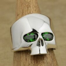 925 Sterling Silver Polished Skull Ring Green CZ Eyes Mens Biker Style 9G503D