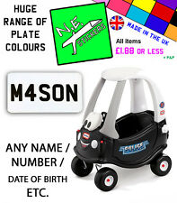 PERSONALISED Number Plate fits Little Tikes Pink POLICE Cozy Coupe car toy kids