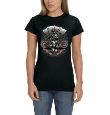 Let It Ride Aces Spade Dice Motorcycle Chopper Biker Women's T-Shirt Tee