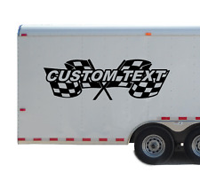 Custom Name Text Racing Checkered Flag Decal personalized Kart Race Trailer RC80