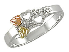 Black Hills Gold on Sterling Silver Ladies Ring with Hearts Size 4 - 10