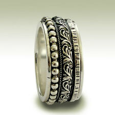 925 Sterling Silver Band 3 Spinner Oxidized Ring Patterned Beaded Hammered 11mm