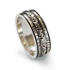 925 Sterling Silver Ring Spinner Oxidized Band Hammered Patterned Handmade 9mm
