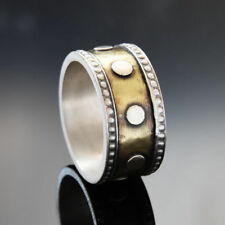 925 Sterling Silver Brass Ring Oxidized Dotted Design Circle Handmade Band 10mm