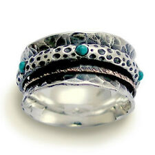 925 Sterling Silver & Gold Spinner Ring Sculptured Oxidized Turquoise Stone 11mm