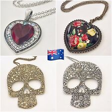 NWNT Jewelry Woman Long Punk Necklace - Large Pendant Skull Crystal Heart JN106