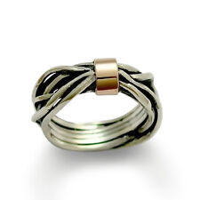 925 Sterling Silver Gold Ring Wrapped Abstract Wire Red Stripe Oxidized Gift 8mm