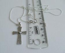 New 925 Sterling Silver Cross & Curb Chain 14 to 24 Inch Serenity Prayer & Box