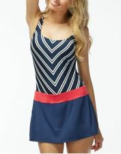 NEW BEACH HOUSE Avery Tennis Boyshort Swimdress Swim Bathing Suit Navy Chevron