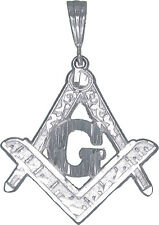 """Sterling Silver Masonic Symbol Square and Compass Charm Pendant with Chain 24"""""""