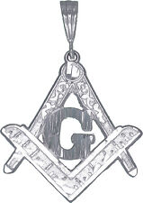 Sterling Silver Masonic Symbol Square and Compass Charm Pendant with Chain 24""