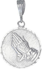 Sterling Silver Praying Hands Medallion Pedant Necklace with 18 Inch Rolo Chain