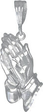 """Sterling Silver Praying Hands Pendant Necklace Diamond Cut Finish. 18"""" Chain"""
