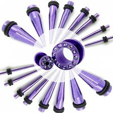 1 Pair or 2 Set Flesh Tunnel Ear Plug Piercing +Taper Purple Strass 14-000 Gauge