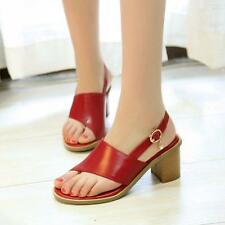 Peep Toe Low Heel stylish Leather Wome's' Ankle Strap Sandals Flip Flops Summer
