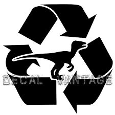 Recycled Dinosaur Logo Vinyl Sticker Decal Fossil Fuel Fun - Choose Size & Color