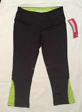 Women's S M NEW BALANCE FITNESS Athletic EXERCISE TIGHTS Running BLACK, LIME NWT