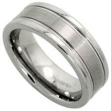 Men's Tungsten Wedding Band Ring Satin Center Polished Grooved Edges