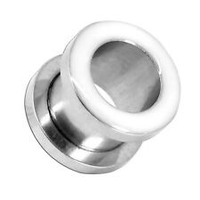 Flesh Tunnel Ear Plug Piercing Expander to Screw with white Surface 2 - 16 mm