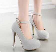 Silver Shiny Womens Evening Party High Heel Platform Pumps Wedding Bridal Shoes