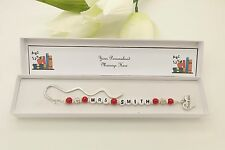 Nursery Assistant Gift. Personalised Red Bookmark Gift. End Of Term. Thank You.