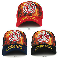 Flame Print 3D Embroidered Fire Department First In Last Out Baseball Cap