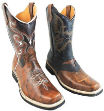 MEN'S RODEO COWBOY BOOTS GENUINE LEATHER WESTERN SQUARE TOE BOOTS-CH