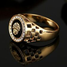 Special Men Diamond Plated TOld Plating Lion Head Decoration Ring Jewelry UO