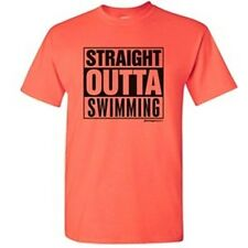 Swimming Straight Outta Swimming Hot Coral T-Shirt