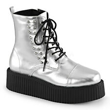 Demonia V-Creeper-573 Silver Platform Shoes - Gothic,Goth,Punk,Silver,Creepers,P