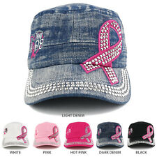 Breast Cancer Pink Ribbon Cubic Stone Jeep Style Adjustable Cap