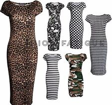 WOMENS CAP SLEEVE PRINTED BODYCON STRETCH JERSEY MIDI PARTY DRESS PLUS SIZE 8-22