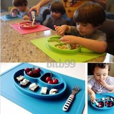 Baby Toddler One-Piece Silicone Placemat+Plate Dish Food Table Mat Kids Bowl BU