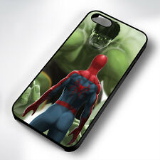 SPIDERMAN INCREDIBLE HULK BLACK PHONE CASE COVER FITS IPHONE 4 5 6 7 (#BH)