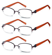 3 Pack High Quality Spring Hinge Metal Reading Glasses Clear Lens Women and Men