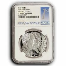 2015 W NGC PF69 UC First Day of Issue March of Dimes Proof Silver Dollar $1 Coin