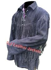 Men's Western Fringed Heavy Cow Suede Leather Black Shirt