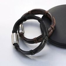 Leather Wristband Handmade Woven Genuine Leather Domineering Unisex Simple Style
