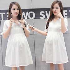 Korean Pregnant Women Lace Summer Casual Loose Pregnancy Clothes Maternity Dress