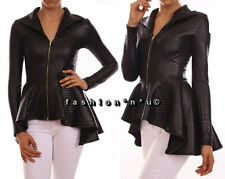 Black Peplum Fashion Jacket Top Hi Lo Ruffle Quilted Faux Leather Look